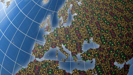 3D Europe illustration covered in stock market tickers and up and down trade symbols for business and financial backgrounds, with the continent clipping path included in the file