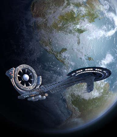 Futuristic spaceship with a power source wheel structure 版權商用圖片