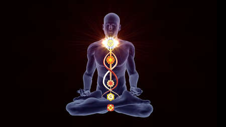 Silhouette in an enlightened Yoga meditation pose with five highlighted Hindu Chakras. Reklamní fotografie