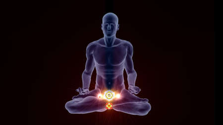 Silhouette in an enlightened Yoga meditation pose with two highlighted Hindu Chakras. Stock Photo