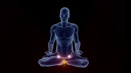 Silhouette in an enlightened Yoga meditation pose with highlighted Hindu Basal Chakra.