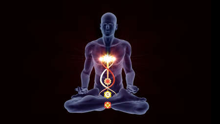 Silhouette in an enlightened Yoga meditation pose with four highlighted Hindu Chakras.