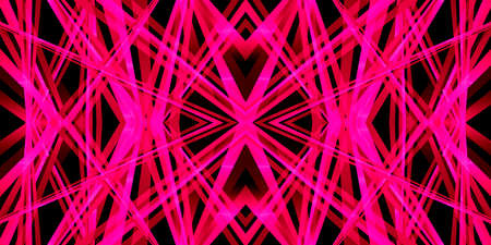 Kaleidoscope 3D illustration with a geometric pattern in a bright pink neon color for abstract textured backgrounds. 写真素材