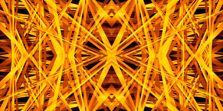 Kaleidoscope 3D illustration, with a geometric pattern in a bright, gold color for abstract or futuristic backgrounds.