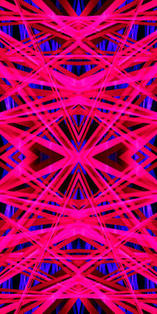 3D illustration geometric pattern kaleidoscope in a bright, neon-pink color for abstract or futuristic backgrounds. 写真素材