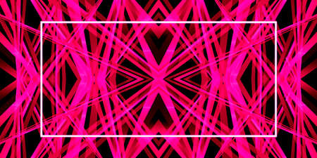 3D illustration geometric pattern kaleidoscope in a bright pink color and a neon frame, for abstract title backgrounds.