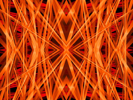 3D illustration geometric pattern kaleidoscope in a bright orange neon color for abstract textured backgrounds.