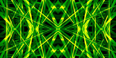 Kaleidoscope 3D illustration, with a geometric pattern in a bright, neon green color for abstract or futuristic backgrounds. 写真素材