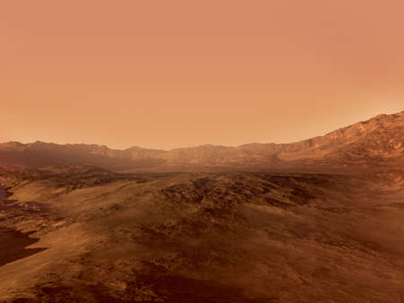3D Mars landscape rendering with a red rocky terrain, for science fiction or space exploration backgrounds.