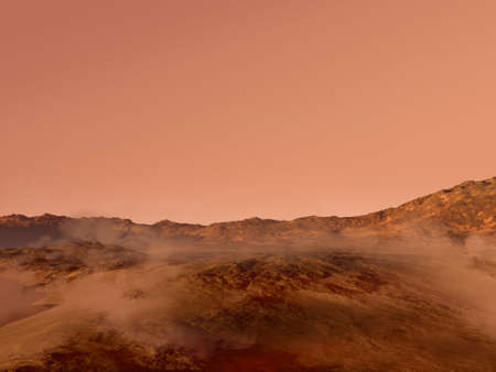 3D rendered Mars landscape with a red rocky terrain covered in fog, for science fiction or space exploration backgrounds.