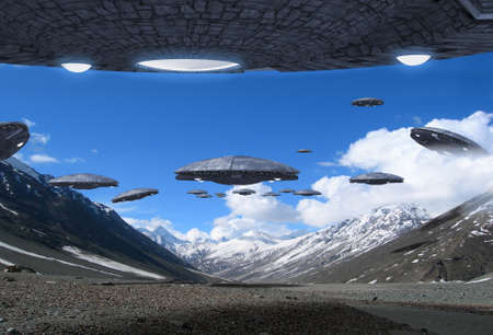 3D Illustration of a fleet of alien UFO spaceships flying in the Himalayan mountains, for futuristic, fantasy and war game backgrounds.