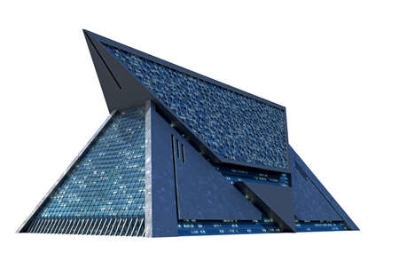 3D Illustration of a triangular shaped futuristic building from a dramatic angle, with technologist architecture and the isolation work path included in the file, for science fiction or video games backgrounds.
