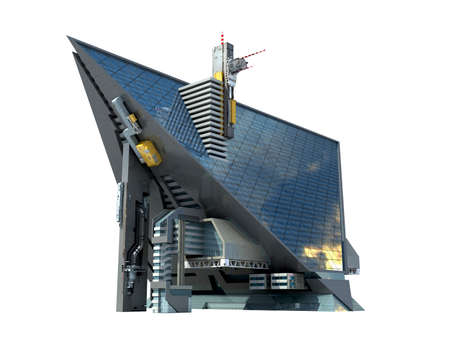 3D Illustration of a triangular shaped futuristic building with technologist architecture and the isolation work path included in the file, for science fiction or video games backgrounds.