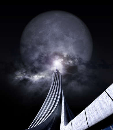 3D rendering of a futuristic high rise building pointing at the moon, for fantasy and science fiction backgrounds.