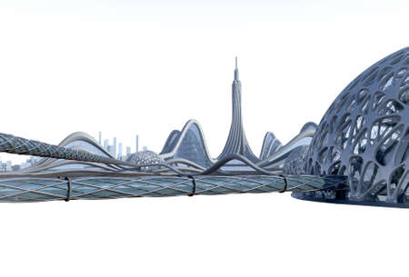 3D illustration of a science fiction city with futuristic architecture, organic dome structures connected by tubular walkways. The isolation path is included in the file.