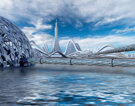 3D illustration of a futuristic city with aquatic architecture and organic dome structures connected by tubular walkways, for science fiction backgrounds.