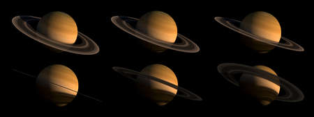 3D renderings of the Saturn planet on black, from several angles with the clipping path included in the illustration, for space exploration backgrounds. Elements of this image furnished by NASA.