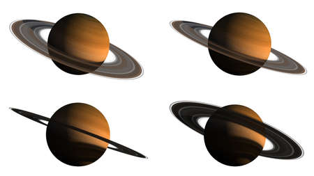 3D renderings of the Saturn planet on white, from several angles with the clipping path included in the illustration, for space exploration backgrounds. Elements of this image furnished by NASA.
