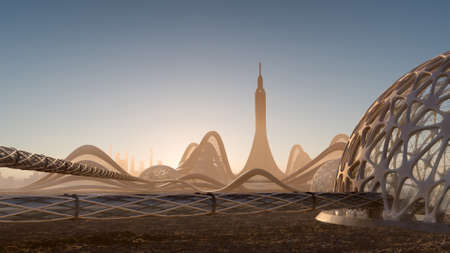 3D illustration of a city skyline with futuristic architecture and organic dome structures connected by tubular walkways, for science fiction backgrounds.