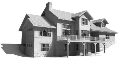 3D Illustration of a three story house with a contemporary architectural design, in black and white, with the clipping path included in the file. 写真素材