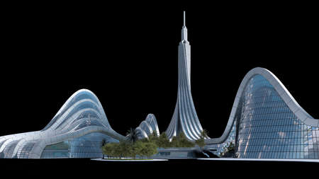 3D illustration of a futuristic city with organic architecture, isolated on black with the clipping path included in the file, for science fiction or fantasy backgrounds.