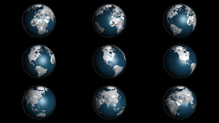 3D Illustration infographic globe instances showing the continents and country borders 写真素材