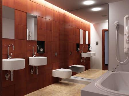 3D Illustration of a modern bathroom interior. 写真素材