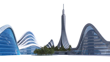 3D rendering of a city skyline with futuristic architecture, isolated on white and the clipping path included in the file, for science fiction or fantasy backgrounds.