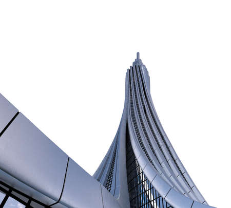 3D illustration of futuristic skyscraper architecture, isolated on white with the clipping path included in the file, for science fiction or fantasy backgrounds.