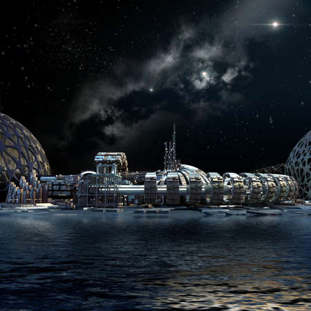 Nightscape futuristic city 3d architecture, with organic structures surrounded by water, for science fiction illustrations. 写真素材
