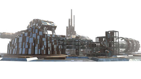 Futuristic city skyline with metallic architectural structures for sci-fi backgrounds, with the Z Depth of field channel