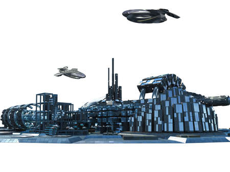 City skyline silhouette with futuristic architecture, metallic structures, and hovering aircrafts