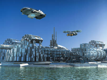 Futuristic city skyline 3D illustration, with metallic structures surrounded by water and flying drones, for science fiction.