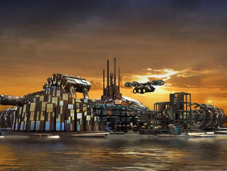 Futuristic city sunset skyline with metallic structures surrounded by water and flying drones, for science fiction 3D illustration.