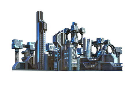 Futuristic city with industrial architecture and high rise metallic structures, for science fiction backgrounds