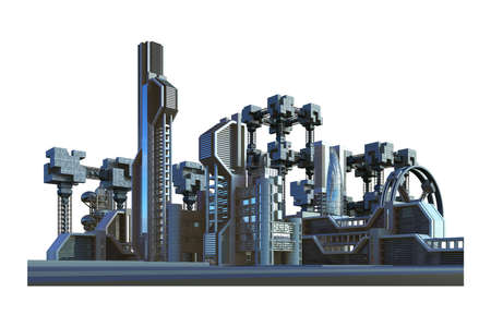 Futuristic city with industrial architecture and high rise metallic structures, for science fiction background