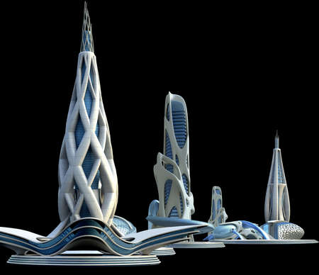 Futuristic buildings for a city skyline with organic architectural design, for science fiction backgrounds.