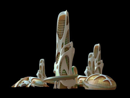 Futuristic city skyline with organic architectural structures,   3D illustration, for science fiction backgrounds.