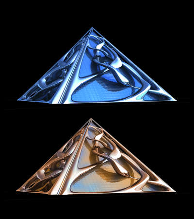 3D rendering of futuristic architectural structures in blue and copper chrome isolated on black with  in the illustration.