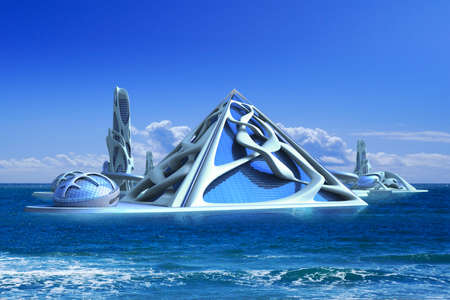 3D rendering of futuristic architectural structures on a marine background for science fiction and sustainable environment illustrations.
