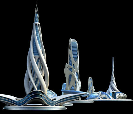 Futuristic city with organic architectural structures and a generic skyline, with the buildings 3D illustration.