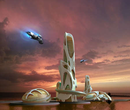 Marina city skyline with futuristic, organic architectural structures and hovering aircrafts, for science fiction 3D illustration backgrounds. 写真素材
