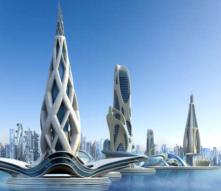 Futuristic buildings and city skyline with organic architectural designs, for science fiction 3D illustrations.