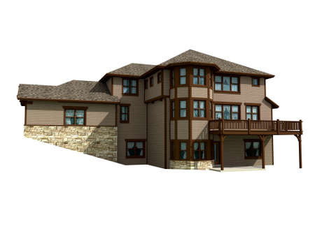 3d Multistory house model isolated on white, with the  included in the illustration.