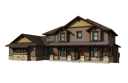 3d Two story house model isolated on white, with the included in the illustration. 写真素材