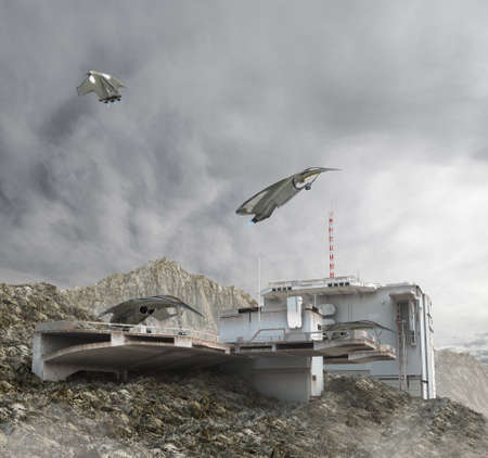 3D Illustration of an aircraft base with a communication bunker and drones landing on observation decks, for military games and science fiction backgrounds.
