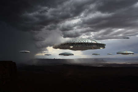 3D illustration with UFO alien spaceships flying in formation in dark clouds, for futuristic, fantasy and science fiction war game backgrounds. 写真素材