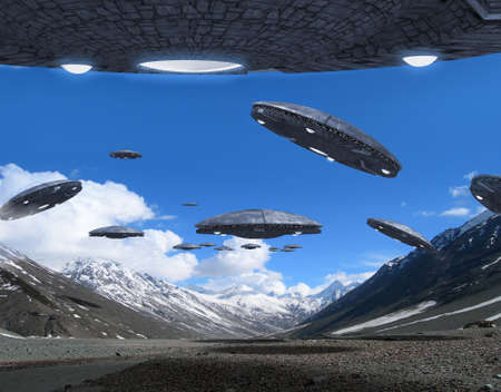 3D illustration with UFO alien spaceships flying in formation on a mountains background, for futuristic, fantasy and science fiction war games.