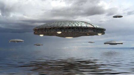 3D illustration with UFO alien spaceships flying in formation over water, for futuristic, fantasy and science fiction war game backgrounds.