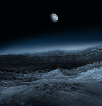 3D Illustration of a Moon panorama with the Earth above the horizon, for 3D illustration environments.